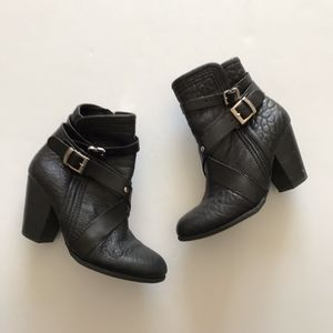 Vince Camuto Hailey Buckle Heeled Ankle Booties